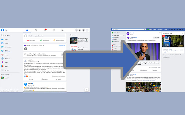 Old Layout for Facebook Chrome