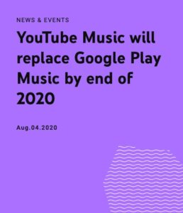 Google Play Music replace by youtube music