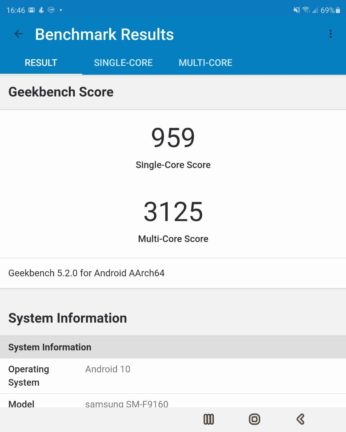 GeekBench for z fold 2